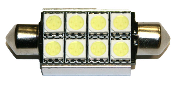 LED lampa 8d, CB, C5W, 42mm, balta
