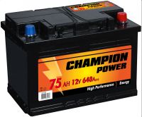 Akumulators Champion Power 75Ah, 640A, 12V (- +) 278x175x190