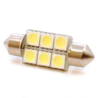 LED lampa 6d, CB, C5W, 36mm, balta