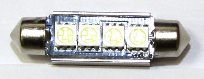 LED lampa 4d, CB, C5W, 42mm, balta