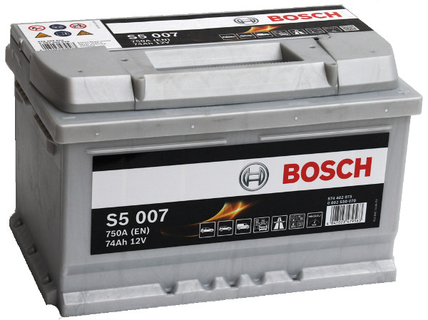 Akumulators Bosch S5 007 Silver Plus 74Ah, 750A, (- +) 278x175x175