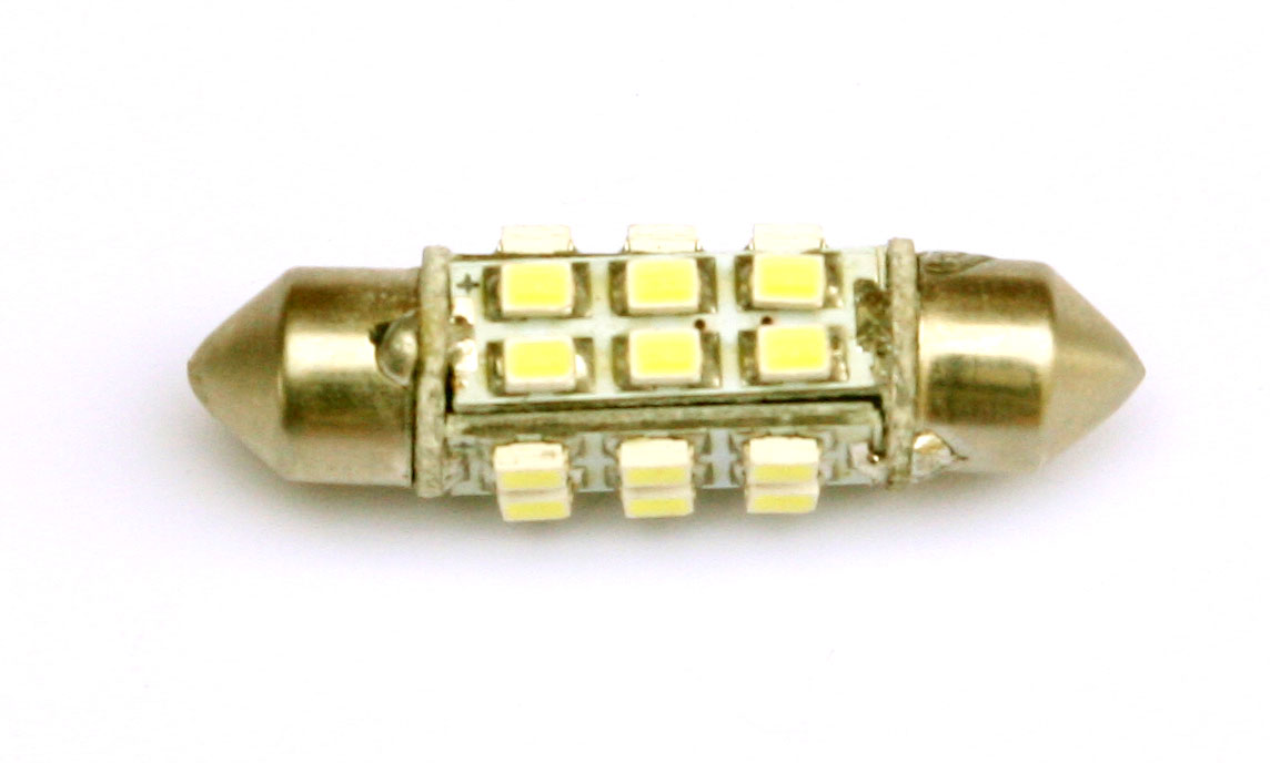 LED lampa 24d,C5W, 36mm, balta