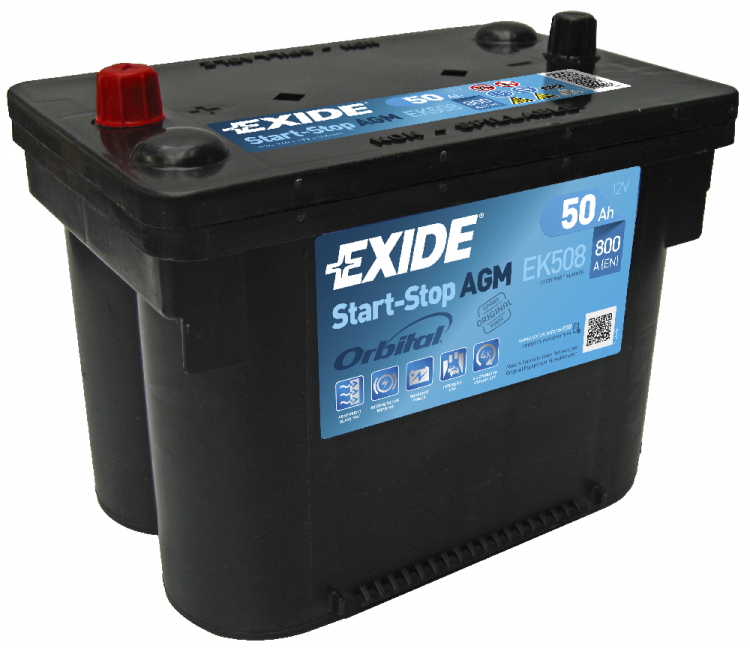 Akumulators Exide EK508 AGM 50Ah, 800A, (+ -) 260x173x206 Chrysler